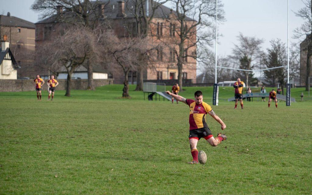 David Grainey kicking a conversion for Bannockburn Rugby Club